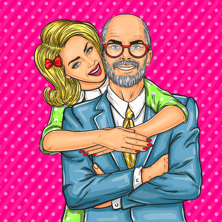 illustration of a elderly father and his beloved daughter