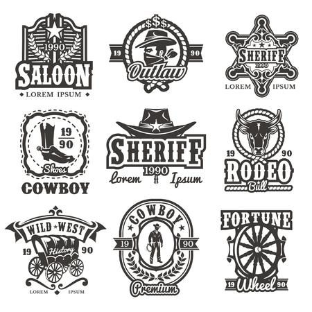 野生の西のロゴ、カウボーイおよび野生の西を白で隔離の属性が付いているバッジのセット