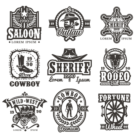 Set of wild west logos, badges with cowboy and attributes of the wild west isolated on white Stok Fotoğraf