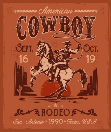 illustration rodeo poster with a cowboy sitting on a rearing horse in retro style Stock Photo