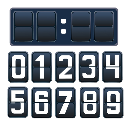 indicator board: illustration of a countdown timer, a mechanical scoreboard blank and various numerals in white