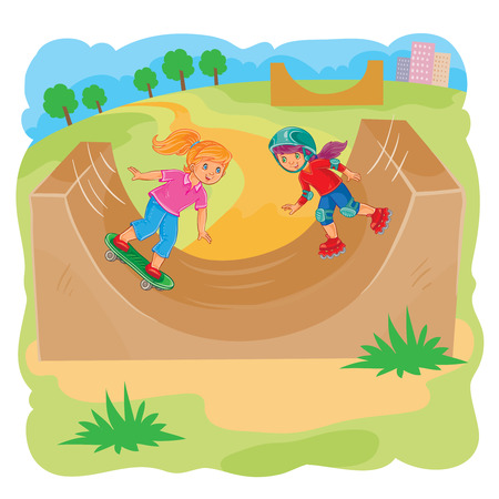 illustration of two girls ride on rollerblades and skateboard using halfpipe in skate park