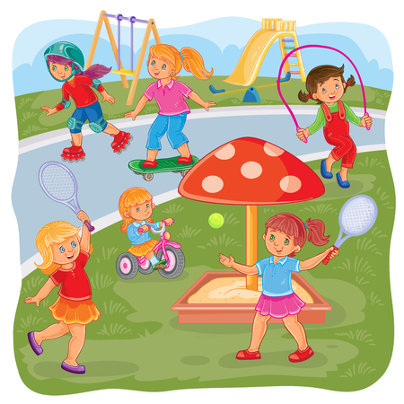 skateboard park: illustration of a girls playing on the playground in tennis, jumping rope, skateboarding, roller skating and cycling Stock Photo
