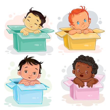 Set of illustrations of babies of different races sitting in boxes