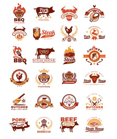 meat chopper: Set of vector color grill and barbecue badges, stickers, emblems isolated on white.