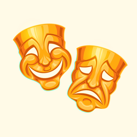 Vector illustration of a golden comic and tragic theater mask in a cartoon style.