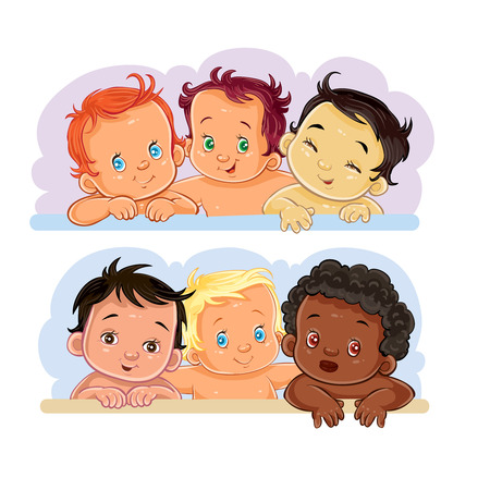 Set of clip art illustrations of little children of different nationalities