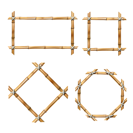 Set van vectorillustraties van bamboe frames van verschillende vormen in realistische stijl geïsoleerd op wit