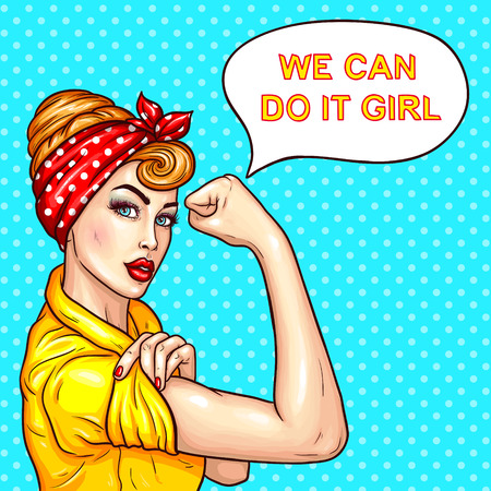 Vector pop art illustration of an attractive confident woman housewife demonstrating her strength by roll up her sleeve. Motivating poster with a housewife talking We can do it, girl