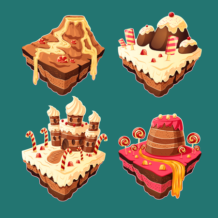 Vector 3D isometric illustration of sweet islands with mountains, rivers and waterfall of cakes, cream, chocolate, caramel.