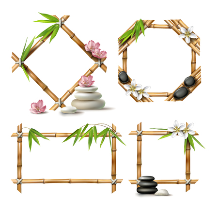 Set of vector illustrations of bamboo frames of various shapes in realistic style isolated on white.