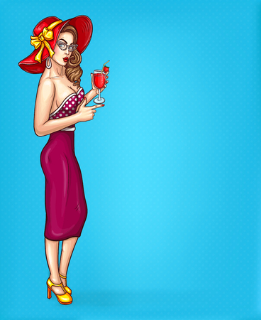 Vector pop art pin up illustration of a sexy girl in a luxurious hat and eyeglasses points to information about a sale.
