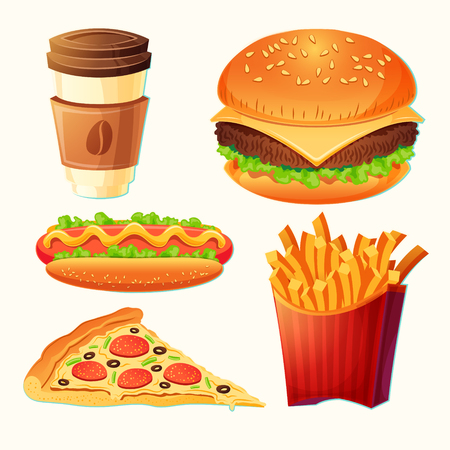 Set of vector cartoon fast food icons - hamburger, hot dog, pizza, french fries, take-away coffee, isolated on white.