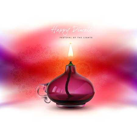 auspicious: Vector illustration, banner, greeting card template for Diwali to Diwali elements. Burning oil lamp on traditional Indian background