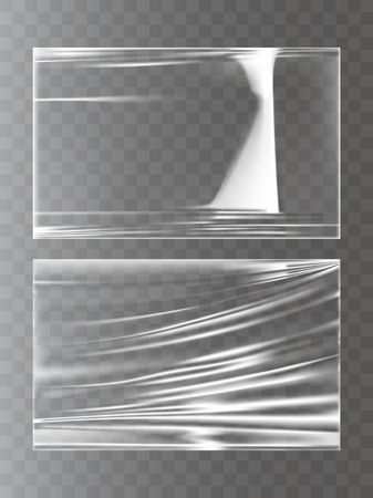 Two vector illustrations of a plastic wrapping stretch film in a realistic style - smooth and wrinkled