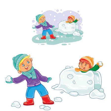 Vector winter illustration of small children playing snowballs. Print