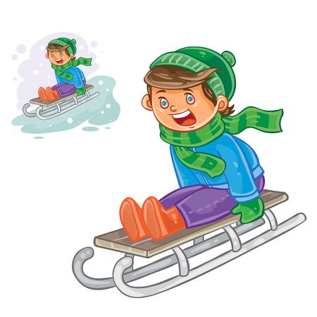 sledging people: Vector winter illustration of small boy sledding. Print