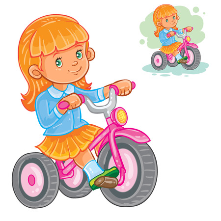 Vector illustration of small girl ride tricycle. Print for T-shirts