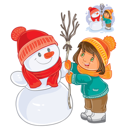Vector illustration of small girl mold snowman. Print