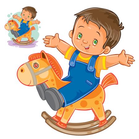 Vector illustration little boy rocking wood horse. Print Illustration