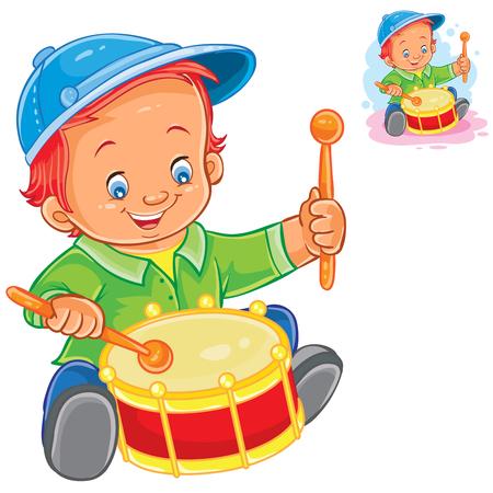 Vector illustration little boy beat the drum. Print