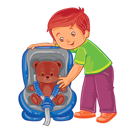 Vector illustration of small boy fastens his teddy bear in the children s car seat