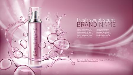 Vector 3D-illustratieaffiche met bevochtigende kosmetische premieproducten, roze achtergrond met mooie nevelfles en waterige textuur