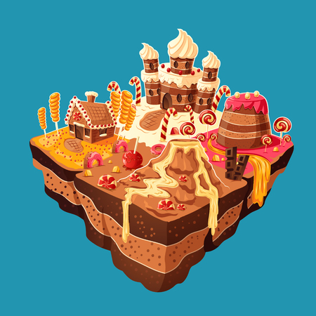 Vector 3D isometric illustration of sweet island with mountains, rivers and waterfall of cakes, cream, chocolate, caramel. Elements of design for games Çizim