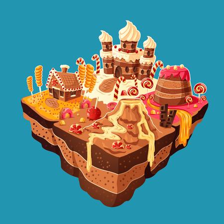 Vector 3D isometrische illustratie van zoet eiland met bergen, rivieren en waterval van cakes, room, chocolade, karamel. Ontwerpelementen voor games Stock Illustratie