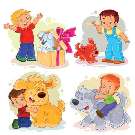 child holding sign: Collection of clip art illustrations of little boys and their dogs