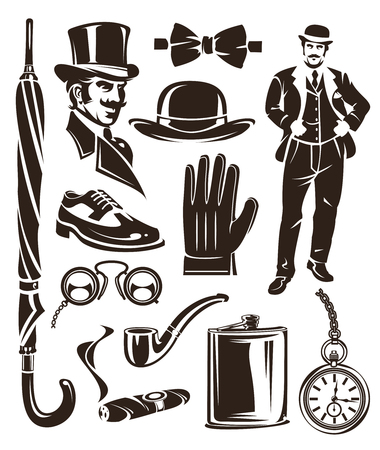 Set of vintage gentleman emblems, labels, icons and design elements.