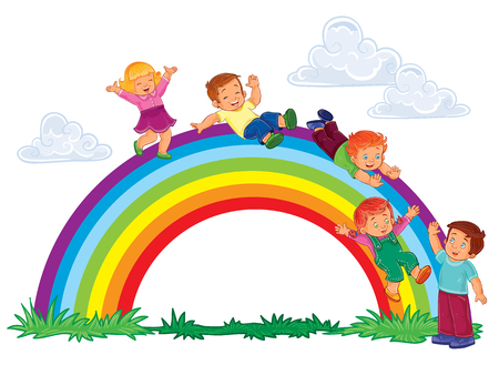 illustration of a carefree young children slide down the rainbow