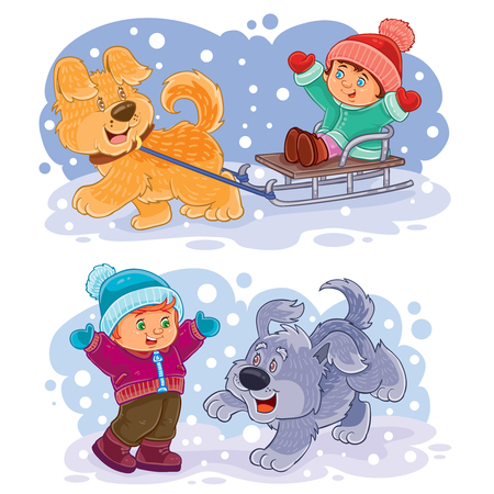 dog sled: Set of winter clip art illustration small children play outside with their dogs