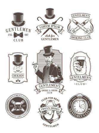 Set of vintage gentleman emblems, labels, icons, signage and design elements. Engraving style.