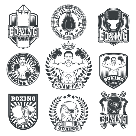 Set of boxing emblems, badges, stickers isolated on white.