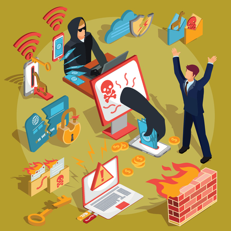 bank robber: Set of vector isometric illustrations, hacker icons, computer security breach, information confidentiality, bank account hacking
