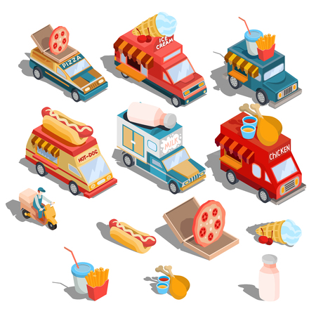 Set of vector isometric illustrations cars fast delivery of food and food trucks - pizza, ice cream, hot dogs, milk, roast chicken, french fries Illustration