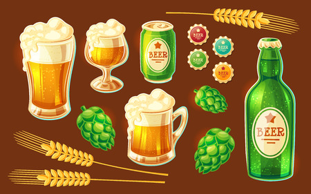 Set of vector isolated cartoon illustrations of various containers for bottling and storing beer. Illustration