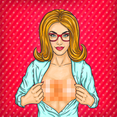breast comic: pop art illustration of a woman unbuttoning her blouse and shows naked breasts Stock Photo