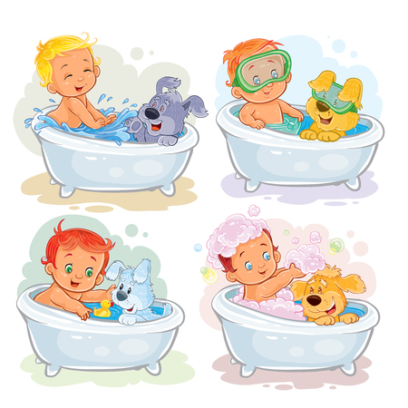 Set of clip art illustrations of little kids take a bath together with his dogs