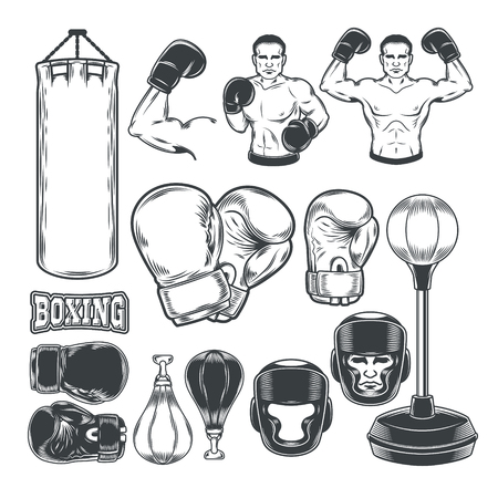 Set of boxing icons isolated on white.