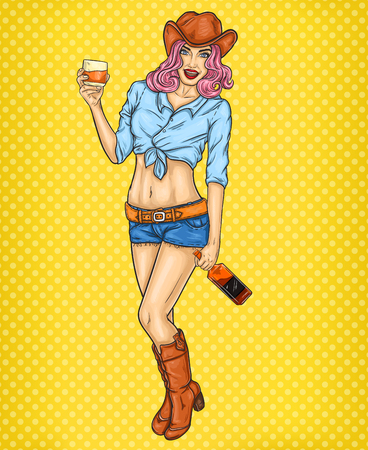 belt up: pop art pin up illustration of a rodeo girl in cowboy hat and glass of whiskey in hand
