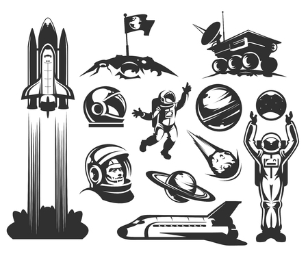 outer clothing: Set of vector icons of space. Elements of design, badges, logo and emblem on a white background. The concept of space travel Illustration