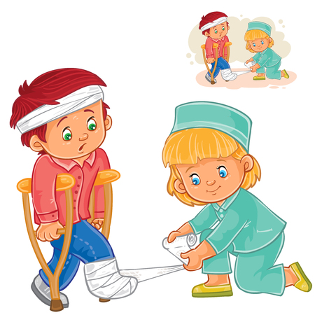 banding: Vector illustration of a little girl a nurse banding a leg to a little boy on crutches. Print