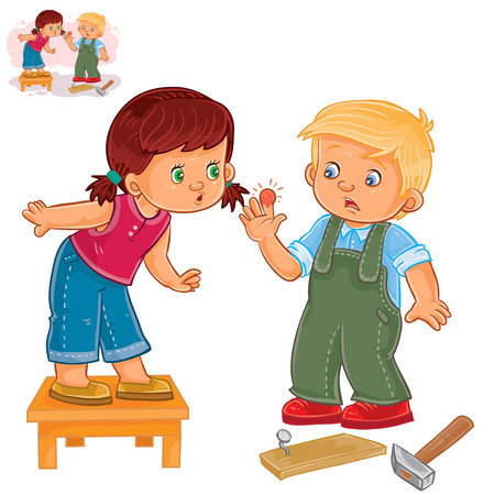 Vector illustration of a little girl sympathizes with a little boy who struck a finger with a hammer. Print Illustration