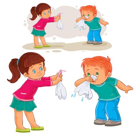 Ilustración vectorial de una niña dando un pañuelo a un niño enfermo de moco, la alergia. Impresión