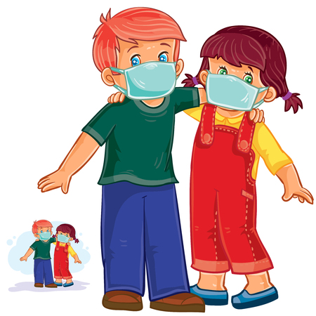 Vector illustration of little boy and girl in medical masks, protection from grip and cold. Print Illustration