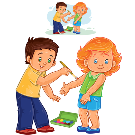 Vector illustration of a little boy paints a paint on a little girl skin rash. Print