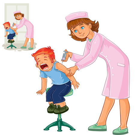 Vector illustration of a nurse doing an inoculation to a small boy, vaccination against flue, pox, tetanus, hepatitis, polymelitis. Print Illustration