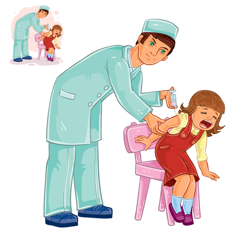 tetanus: Vector illustration of a nurse doing an inoculation to a small girl, vaccination against flue, pox, tetanus, hepatitis, polymelitis. Print
